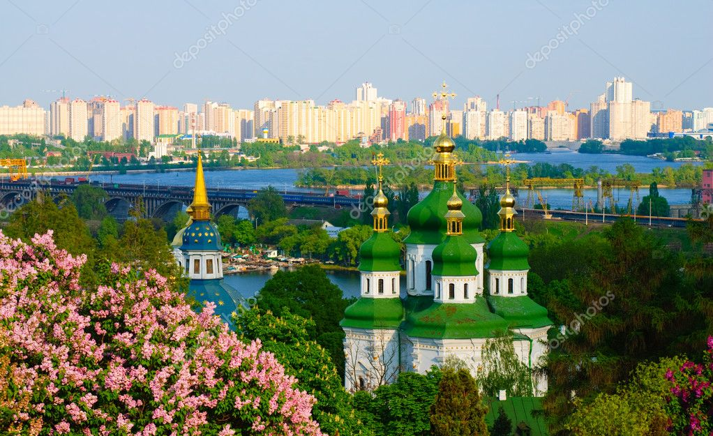 Panoramic view of the Vidubichi monastery, Kiev, Ukraine — Stock Photo #3769478