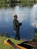 Fishing a Lake — Stock Photo