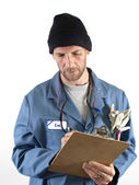 Male Worker Writing Notes — Stock Photo