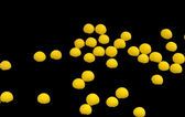 Group of yellow florescent spheres — Stock Photo