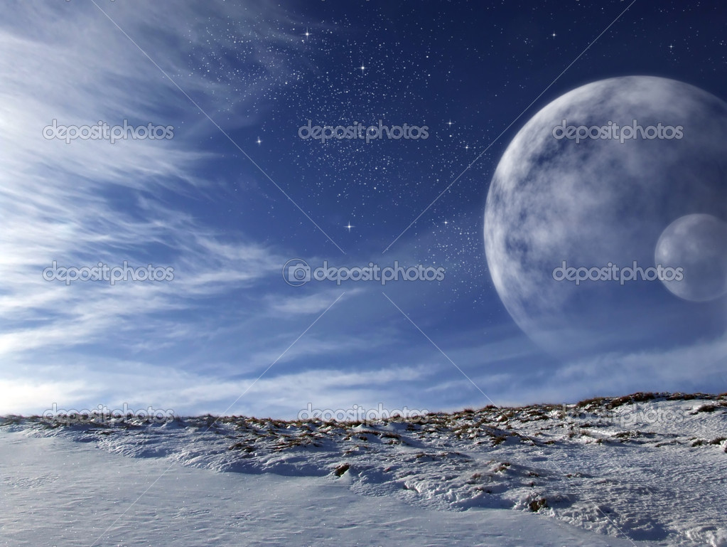 Extraterrestrial scenery of an alien world with enormous moons on the sky  Stock Photo #3873358