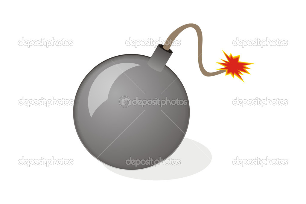Vector illustration black bomb. — Stock Vector #3892147