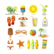 Beach icon set — Stock Vector #3884010