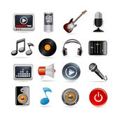 Music icons set — Stok Vektör