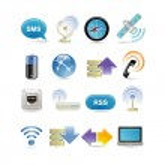 Wireless icon set — Stock Vector