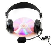 Headphone And Compact Disk — Stock Photo