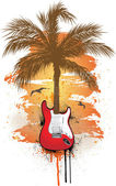 Tropical Guitar — Stock Vector