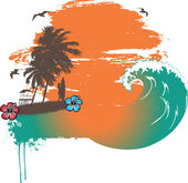 Tropical Surfing — Stock Vector