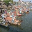 Stock Photo: Moored fishing boats at Cha-am harbour, Thailand