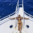 The beautiful woman has a rest on the yacht — Stock Photo #3830670