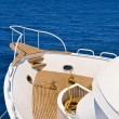Deck of the moored yacht - Stock Photo