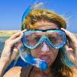 Beautiful girl is snorkeling with mask in red sea — Foto de stock #3830757