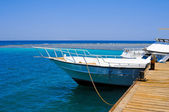 White yacht moored by the pier in the Red sea, Egypt — Stock Photo