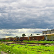 Freight train on the station — Stock Photo