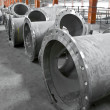 Stock Photo: Water pipes flanges on a building site