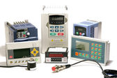 Industrial frequency inverters, incremental encoders and counters — Stock Photo
