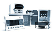 Industrial frequency inverters, controllers and counters — Stock Photo