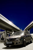 Japan car under the road junction — Stock Photo