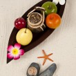 Stockfoto: Thai fruit in wooden leaf tray