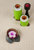 Blumen-kerzen in der kokosnussschale — Stockfoto