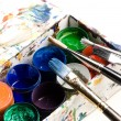 Box of watercolour paint and paintbrushes — Stock Photo