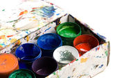 Box of watercolour paint in containers — Stock Photo