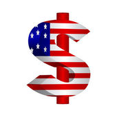 FLAG WITH AMERICAN DOLLAR — Stock Photo