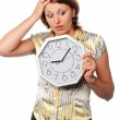 "Stock Photo: Emotional girl with the clock: ""I am late!"""
