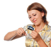Girl cuts a credit card, refusal of crediting — Stock Photo