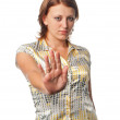 "Girl shows gesture ""No"" — Stock Photo"