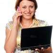 Girl with the laptop speaks by a mobile phone — Stock Photo #3844372