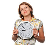 Girl with the clock — Stock Photo