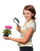 Smiling girl considers cyclamens through a magnifier — Stock Photo
