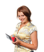 Girl with a purse in hands — Stock Photo