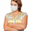 Girl in a medical mask — Stock Photo