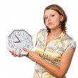 Girl shows what is the time — Stock Photo