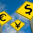 Royalty-Free Stock Photo: Euro, yen and dollar symbols on road sign.