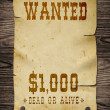Old wanted sign. — Stock Photo