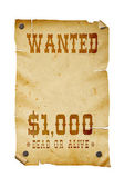 Old western wanted sign isolated , clipping path. — Stock Photo