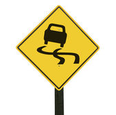 Yellow slippery road sign, isolated, clipping path. — Stock Photo