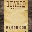 Stock Photo: Old western reward sign.