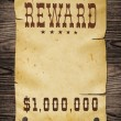 Old western reward sign. - Stock Photo