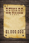Old western reward sign. — Stock Photo