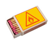 Matchbox isolated on white with hazard sign, clipping path. — Stock Photo