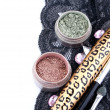 Stock Photo: Green and gold eyeshadow of lace