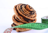 Cookies with centimeter — Stock Photo