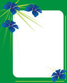 Green photo frame with blue flowers — Stock Photo