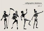 Esqueletos caligráficos — Vetorial Stock