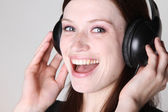 Woman with headphone — Stock Photo