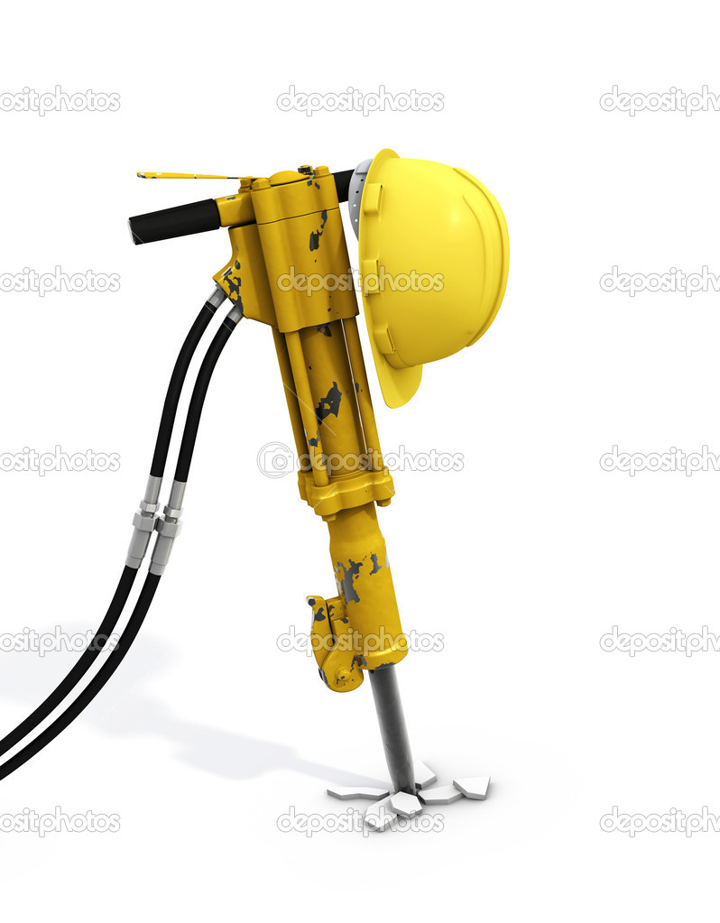 Jackhammer and hardhat on it.With clipping paths! Construction scene — Stock Photo #3793475